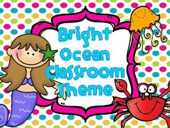 I made this to use for my classroom since I changed my classroom décor theme to the ocean. I just love using bright colors in my classroom! This class decor pack has everything you need and more. If there is something you would like included just let me know and I can get that for you (with the exception of borders).