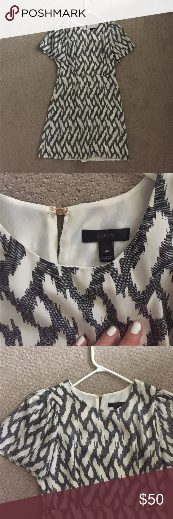 Silk J Crew dress 100% silk dress by J Crew size 4P. Worn only once - perfect condition except for tiny pink mark on sleeve (pictured) J. Crew Dresses Mini