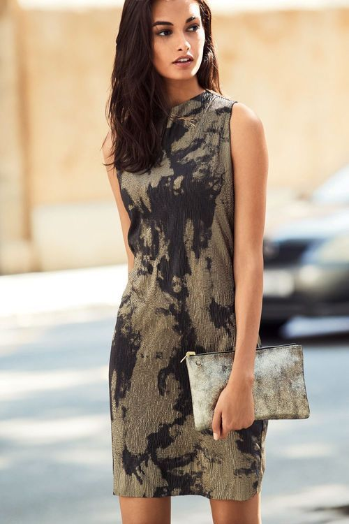 Next Black/Gold Metallic Printed Dress - Petite Online | Shop EziBuy