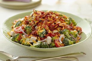 ****Cheddar-Chicken Crunch Salad recipe. Lots of veggie flavor and crunch. Everyone liked it. Great summer meal! Four stars.