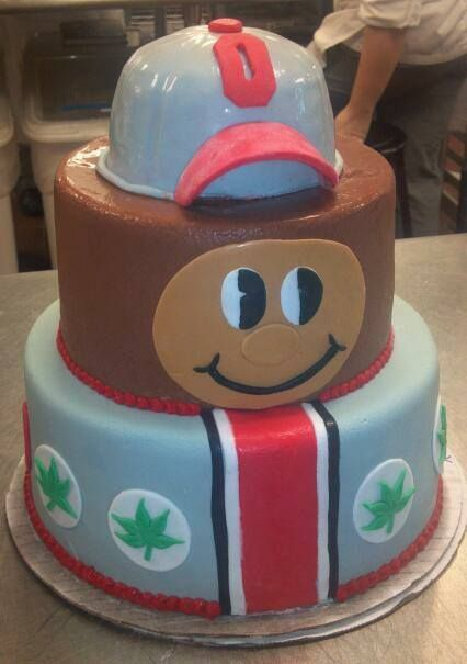 Ohio State themed cake.... omg I am def thinking OSU vs Michigan game day!!!!: Ohio State Buckeyes, Ohio State Birthday Cake, Brutus Buckeye, Birthday Parties, Food, Ohio State Cakes, Buckeyes Cake This, Birthday Cakes