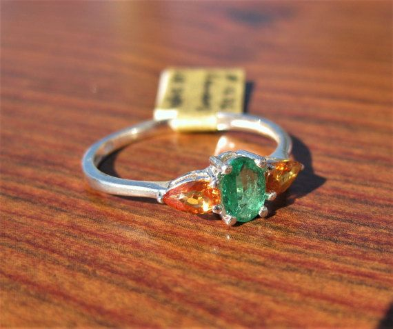Emerald 6x4mm with Orange Sapphires Sterling Silver Ring