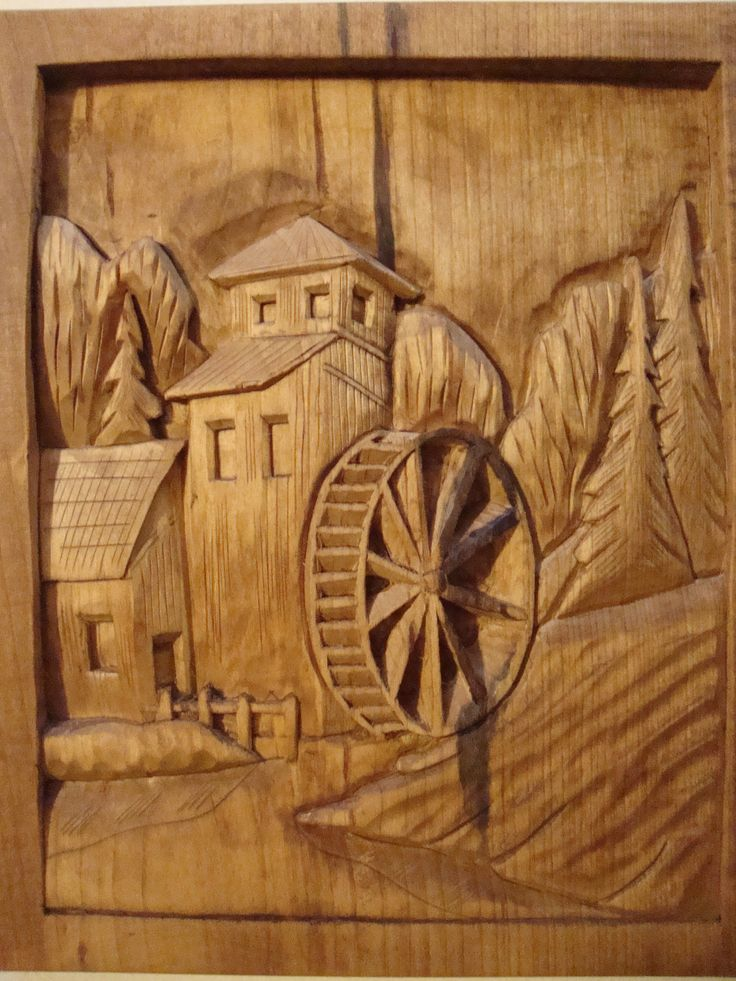 Dremel etched wood country mill and water wheel hand