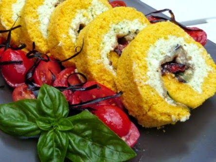 Il pennello di cioccolato: Rotolo salato con melanzane e pomodorini confit