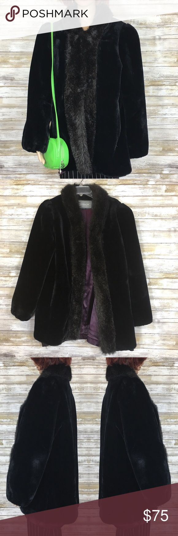 """Vintage 80's 90's Jordache Faux Fur Jacket Wow! What a find! Vintage 80's or 90's Jordache faux fur jacket. Has two furrier hooks that close and it has pockets.  Size 12 Made in USA  Material: acetate and polyester  Fully lined with purple satiny material, material has come unattached at the bottom hem.  Condition: a couple white spots, little matted spots (very minor) and a slight cigarette odor. Measurements (flat): Armpit to armpit: 24.5"""" Waist: 25"""" Bottom hem: 28"""" Length: 27"""" Sleeve: 26""""…"""