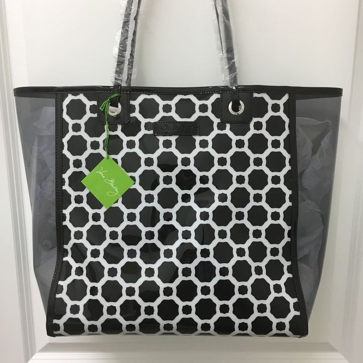 Vera Bradley Clearly Colorful Beach Tote Bag in Midnight Geometric #VeraBradley