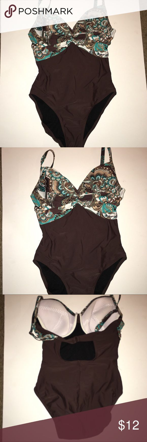 Sz 8 Boho Paisley Teal & Brown One Piece Boho Paisley Teal & Brown One Piece Swimsuit with built in bra. Great condition. No marks or tears! Swim One Pieces