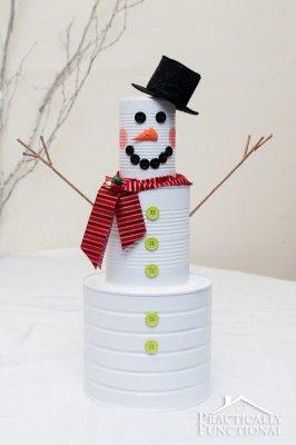 DIY Christmas Craft: Tin Can Snowman | Practically Functional