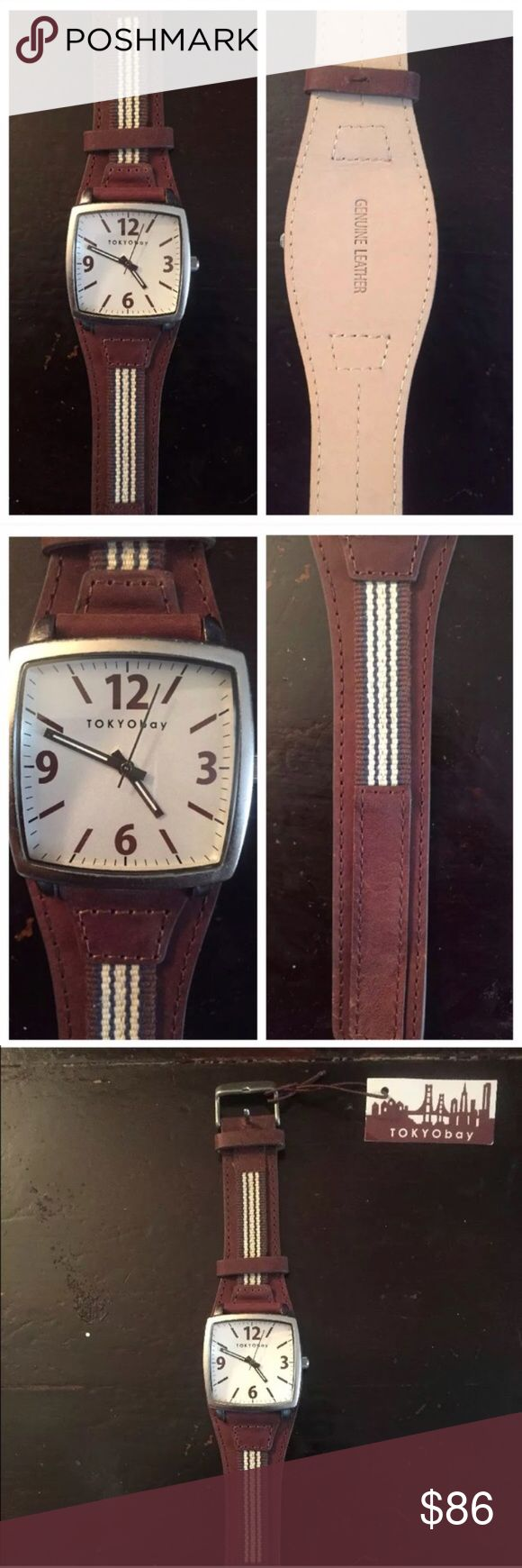 TokyoBay Men's Wristwatch, Leather, NWT, Analog Men's watch by Tokyo Bay. Brand new with tags. Just needs a new battery. Otherwise perfect condition! Quartz (battery), Analog, $175 Retail TOKYObay Accessories Watches