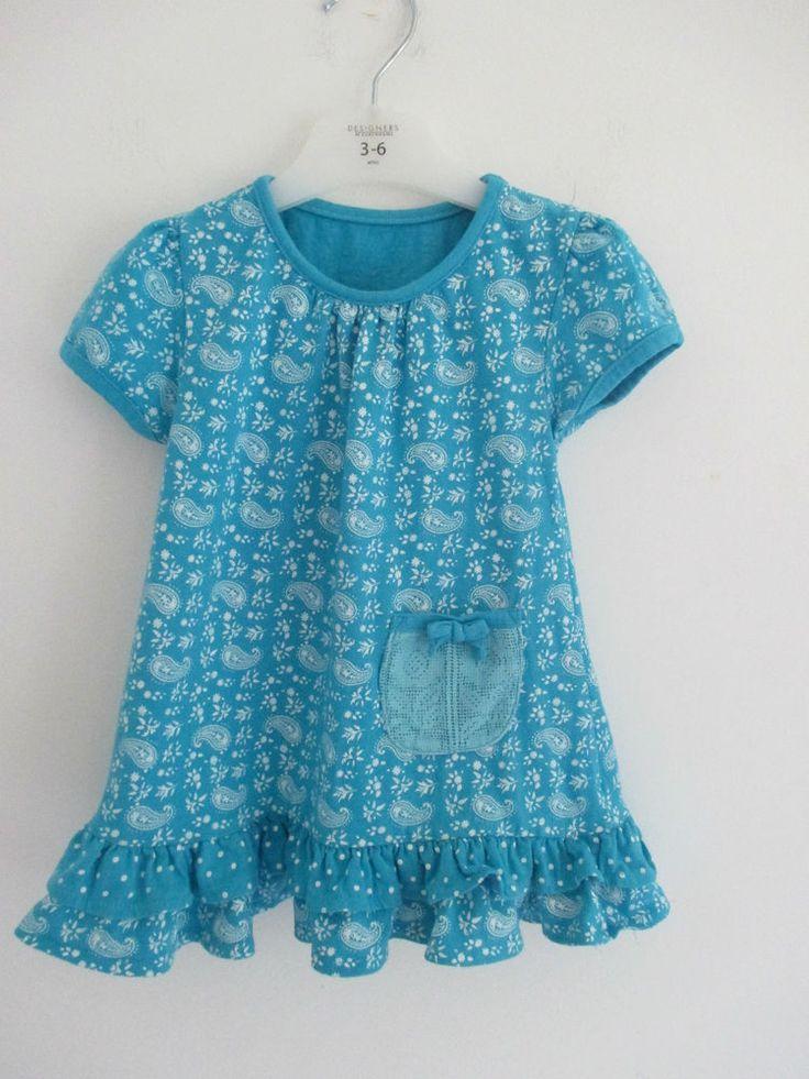 Baby girls turquoise & white dress 12-18 mths