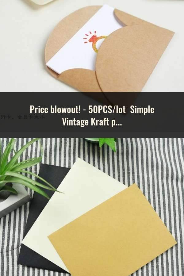 50pcs Lot Simple Vintage Kraft Paper Envelope Wedding Students Diy