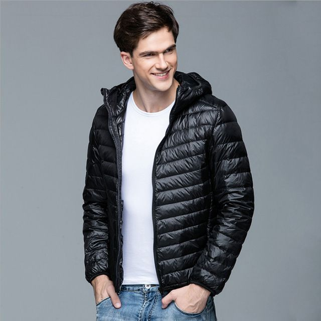 2016 Nieuwe Mannen Winter Jas Mode Capuchon 90% Witte Eend Donsjacks Plus Size Ultralight Down Jas Draagbare Slanke Down parka
