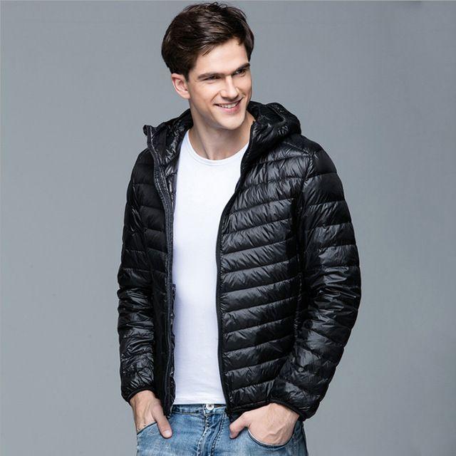 2016 Nieuwe Mannen Winter Jas Mode Capuchon 90% Witte Eend Donsjacks Plus Size Ultralight Down Jas Draagbare Slanke Down parka