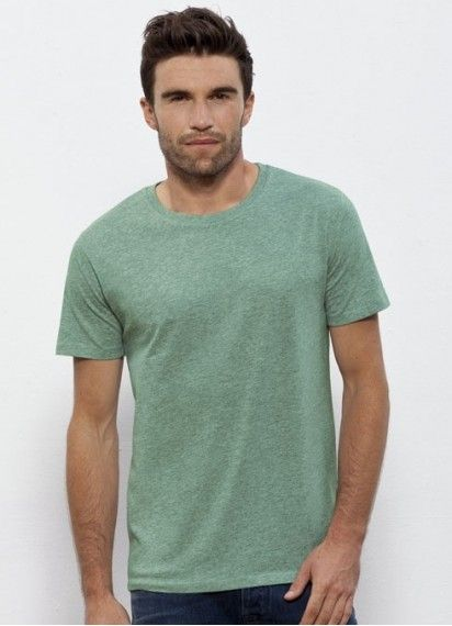 Old Mate - Mid Heather Green Men's Tee. Classic & comfy. This round neck t-shirt is #fairtrade & #organiccotton. Made in Bangladesh and Turkey.