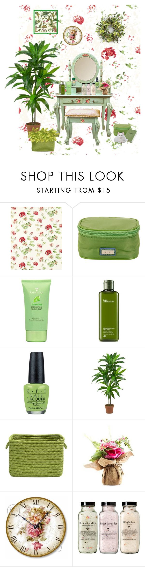 """""""Her Dressing Table"""" by patchworkcrafters ❤ liked on Polyvore featuring beauty, Hadaki, Origins, OPI, Nearly Natural, Home Decorators Collection, WALL, Melrose International and GREEN"""