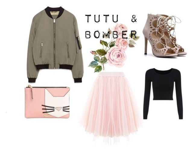 BOMBER 5 by patrycja-bobek on Polyvore featuring moda, Zara and Karl Lagerfeld