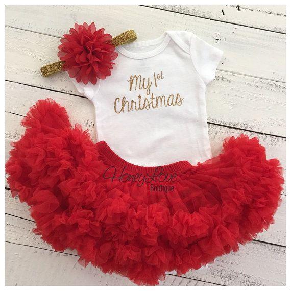 1st Christmas Set GOLD or SILVER glitter shirt onesie bodysuit red flower headband bow red pettiskirt tutu skirt bloomer newborn infant toddler baby girl First Santa Outfit by HoneyLoveBoutique