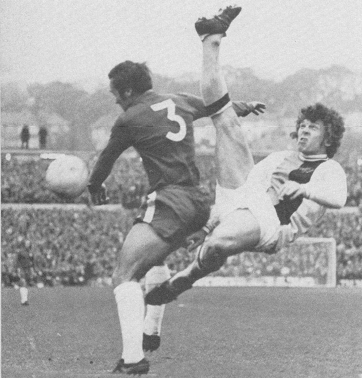 8th April 1972. Chelsea hard man Ron Harris up ends Crystal Palace centre forward John Craven.
