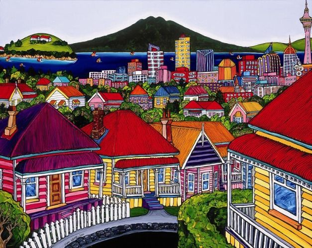 Auckland Harbour from Ponsonby by Fiona Whyte for Sale - New Zealand Art Prints
