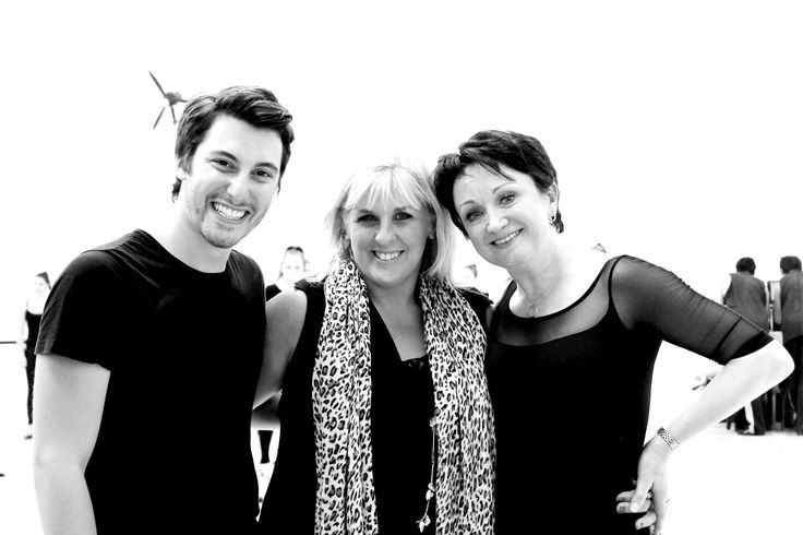 Nathan Pinnell and Karen Edwards, Directors of Bev Palmer Performing Arts with Caroline O'Connor.