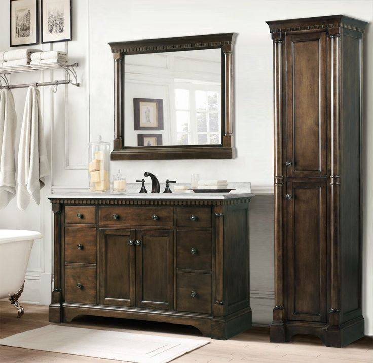 Make Photo Gallery Abel inch Antique Single Sink Bathroom Vanity in Antique Coffee Carrara White Marble Top