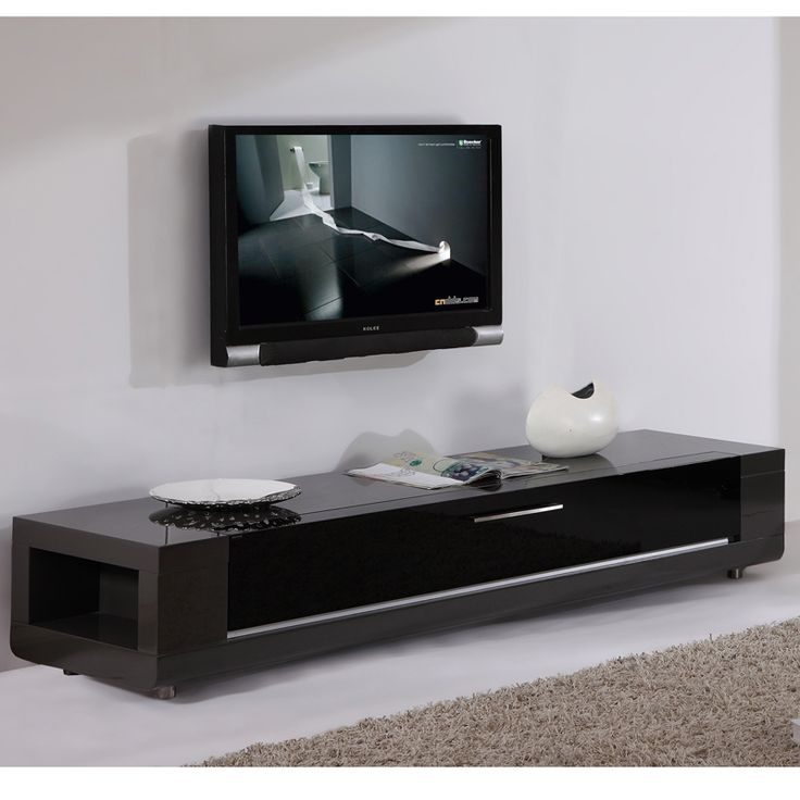 """B-Modern Furniture Editor Remix 79"""" Contemporary TV Stand in High Gloss Gray Lacquer (Flip Down Glass Front) BM-632-GRY"""