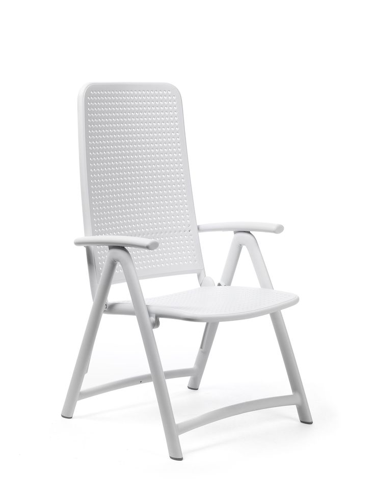 Darsena Outdoor Folding Patio Chair - Bianco. Folding High-Back Armchair Reclines to 4 Positions. Made of Uniformly Colored Fiberglass Polypropylene Resins with UV Additives. Anti-slip Feet and Matte Finish. Made In Italy.