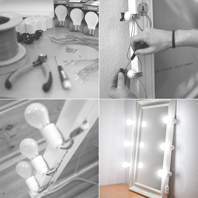 Homemade lighted makeup mirror for use in the studio, by Lars Brandt Stisen