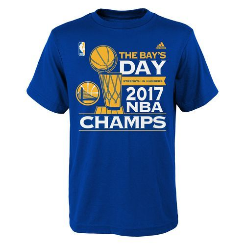 Adidas Youth Golden State Warriors 2017 NBA Finals Champions Parade T-shirt (Blue, Size X Large) - Pro Licensed Product, Nba Apparel Events at Acad...