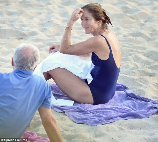 Caroline Kennedy and husband Edwin Schlossberg enjoy a relaxing afternoon on the beach