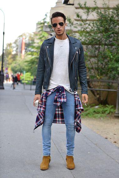Leather jacket + sweatshirt + flannel shirt + skinny denim + suede boots