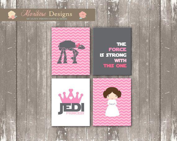 Princess Leia Nursery Art Set Pink Chevron Gray by montrosedesigns