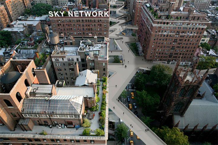 O arquitecto português projectou uma rede para peões que faria a ligação entre os edifícios de Nova Iorque num nível superior à grelha já existente (criada em 1811)