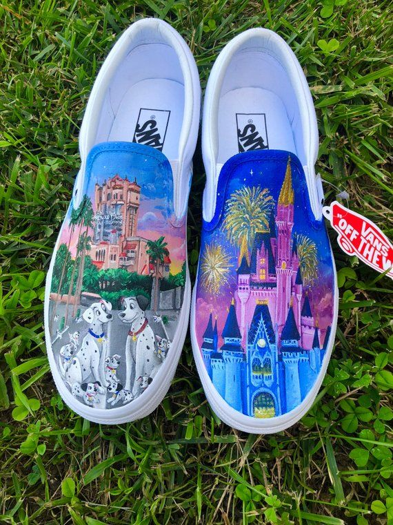 A pair of hand painted Vans. Inspired by Disney; 101