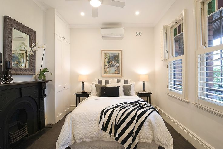 Main bedroom, fireplace, built ins, classic home with designer interiors, 16 Mayes Street, Annandale, Pilcher Residential