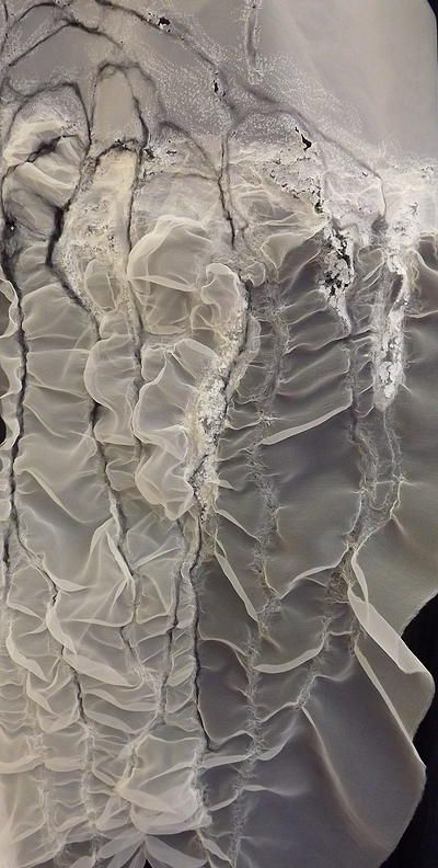 Experimental textiles design using fabric manipulation & innovative no-stitch embroidery for mixed textures // Emily Sladen