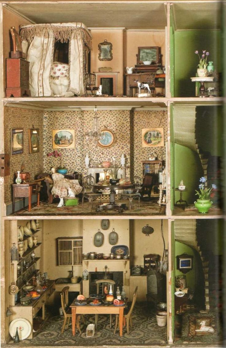 Best Images About Antique  Vintage Dolls Houses On Pinterest - Dolls house interior