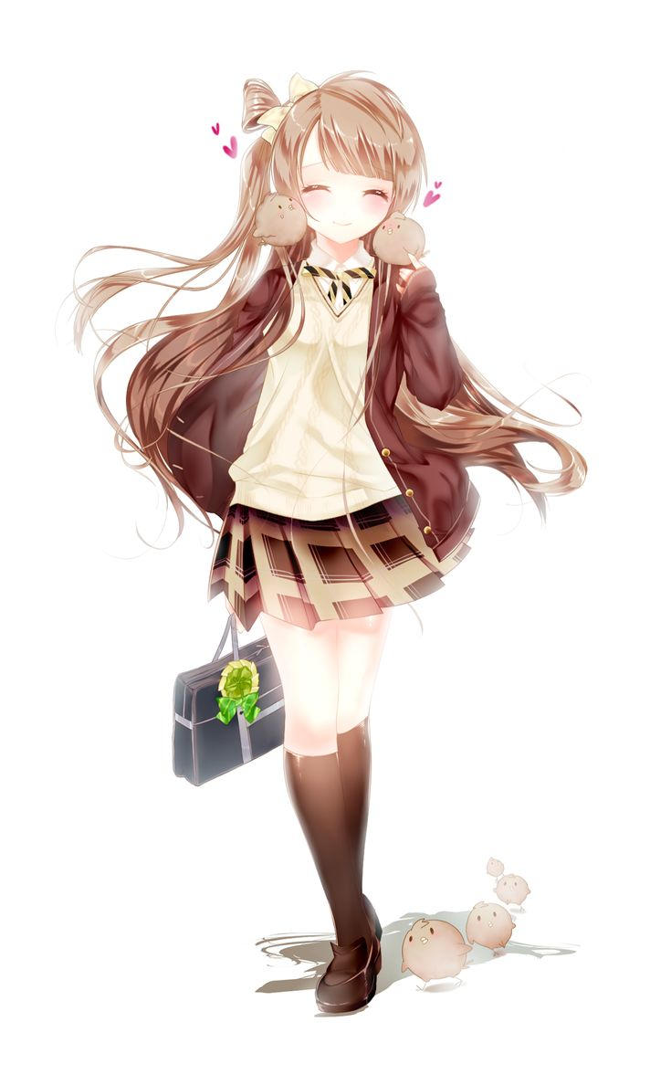 Cute anime/manga schoolgirl with several little birds. I like the coordinated brown school outfit, and her long, flowing hair.