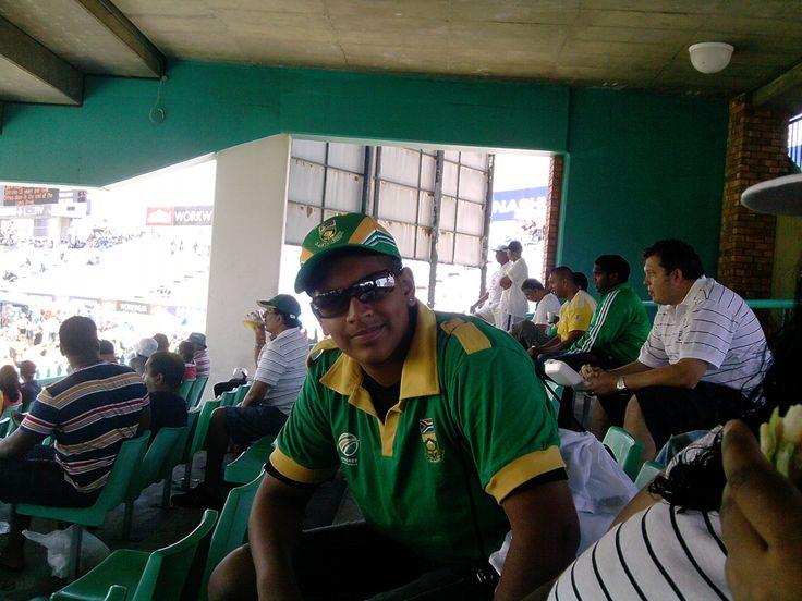my brother enjoying the cricket