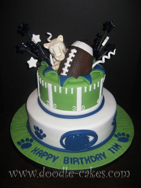 Awesome football birthday cake or groom's cake - #PSU #PennState #Birthday #Cake