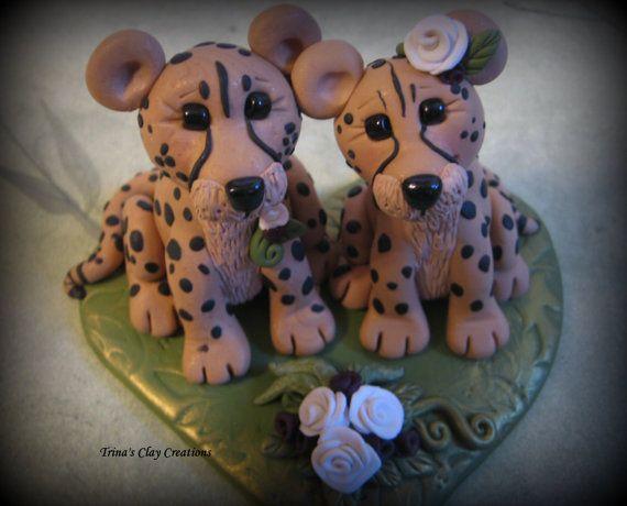 Bruidstaart Topper aangepaste taart Topper, luipaard, Cheetah bruiloft Topper, gepersonaliseerd, polymeerklei, Keepsake