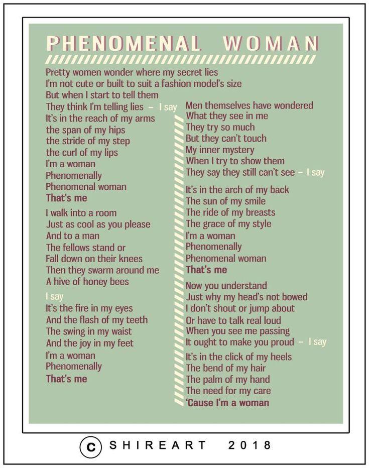 Phenomenal Woman Poem Print - Maya Angelou