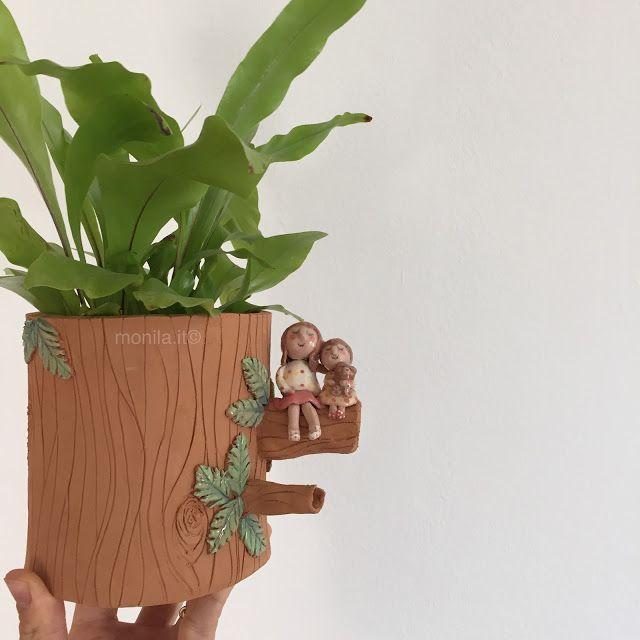 Monila handmade,vaso,terracotta ,sorelle ,bambine