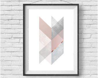Peach Chevron Print Scandinavian Print Geometric by PrintAvenue