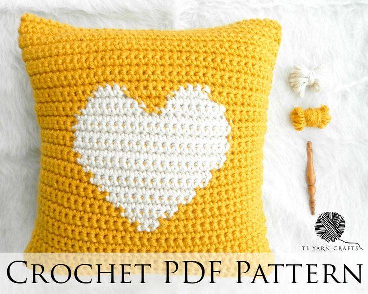 One Heart Pillow, Crochet Throw Pillow Pattern, Knit Heart Gift Pillow, Heart Crochet Tutorial, DIY Crochet Pillow, Yellow Crochet Throw by TLYarnCrafts on Etsy https://www.etsy.com/uk/listing/398864789/one-heart-pillow-crochet-throw-pillow
