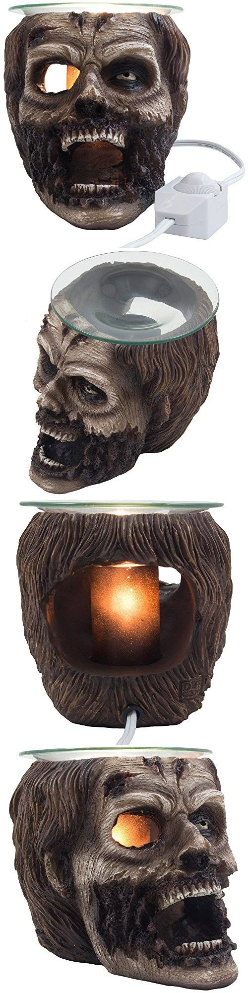 Evil Undead Zombie Head Electric Oil Warmer or Wax and Tart Burner for Scary Halloween Party Decorations and Gothic Home Decor Skull Sculptures & Figurines As Spooky Collectible Novelty Gifts