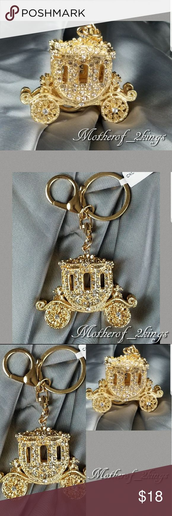 "🍁NEW🍁 GOLD/CRYSTAL ""CARRIAGE"" KEYCHAIN/CHARM 💎Give your ""Little Princess"" her very own CARRIAGE! 😍 Give your Keys or favorite Handbag a POP of personality! This Keychain can also be used as a  STUNNING Charm for your Handbag!  👜😍  It is absolutely GORGEOUS!  If you love SPARKLE this is for YOU!! 😍💎💍   *Includes Keyring to hold your keys and Lobster Clasp to use as a Charm for your Handbag!  😍  🎄🎁EXCELLENT Stocking Stuffer!🎁🎄  🛍 BUNDLE TO SAVE MORE 🛍 Accessories Key & Card…"