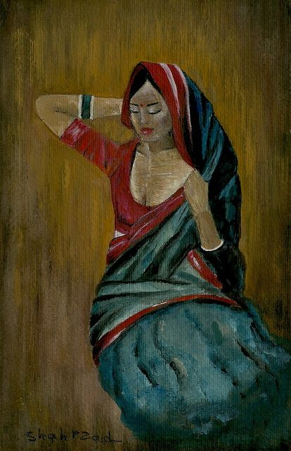 lovely indian woman,watercolour...