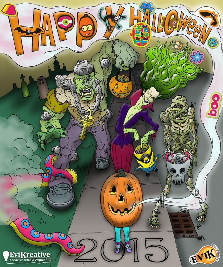Happy Halloween from EviKreative! Original drawn in pencil and ink, then digitally colored. Sticker accents were added by my kids.