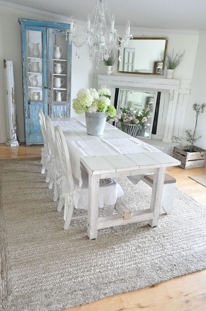 farmhouse table, chairs and bench Farmhouse dining room